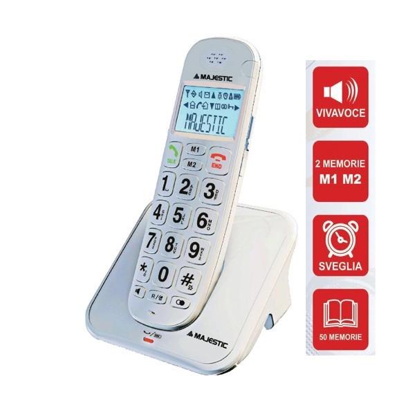MAJESTIC CHARLY 300 TELEFONO CORDLESS TASTI GRANDI