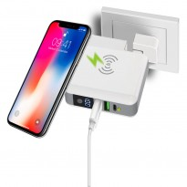 AREA 3in1 Caricabatteria rete wireless +Powerbank 6700mAh 2 USB+1Type C