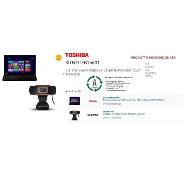 """RIGENERATO Toshiba Notebook Satellite Pro A50 15,6"""" + Webcam"""